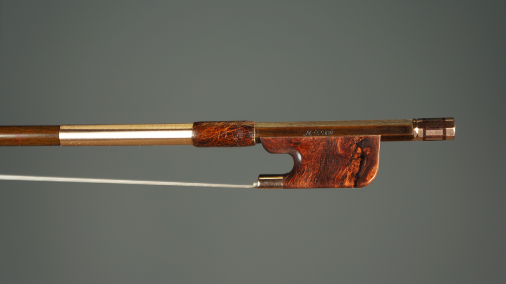 AD16 Berg Bows Violin-bow-Stabilized-Burled-Rosewood-Frog,-Gold-Mounted-Stabilized,-Blackwood-Tip