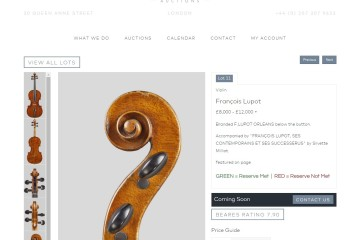A Francois Lupot violin coming soon to a news series of auctions by Beares Auctions.