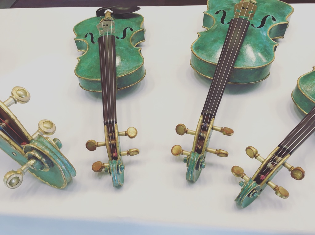 On display at AFVBM: A quartet of instruments made by French luthier Christophe Landon, which were hand painted by artist Jean-Patrick Guilbert.
