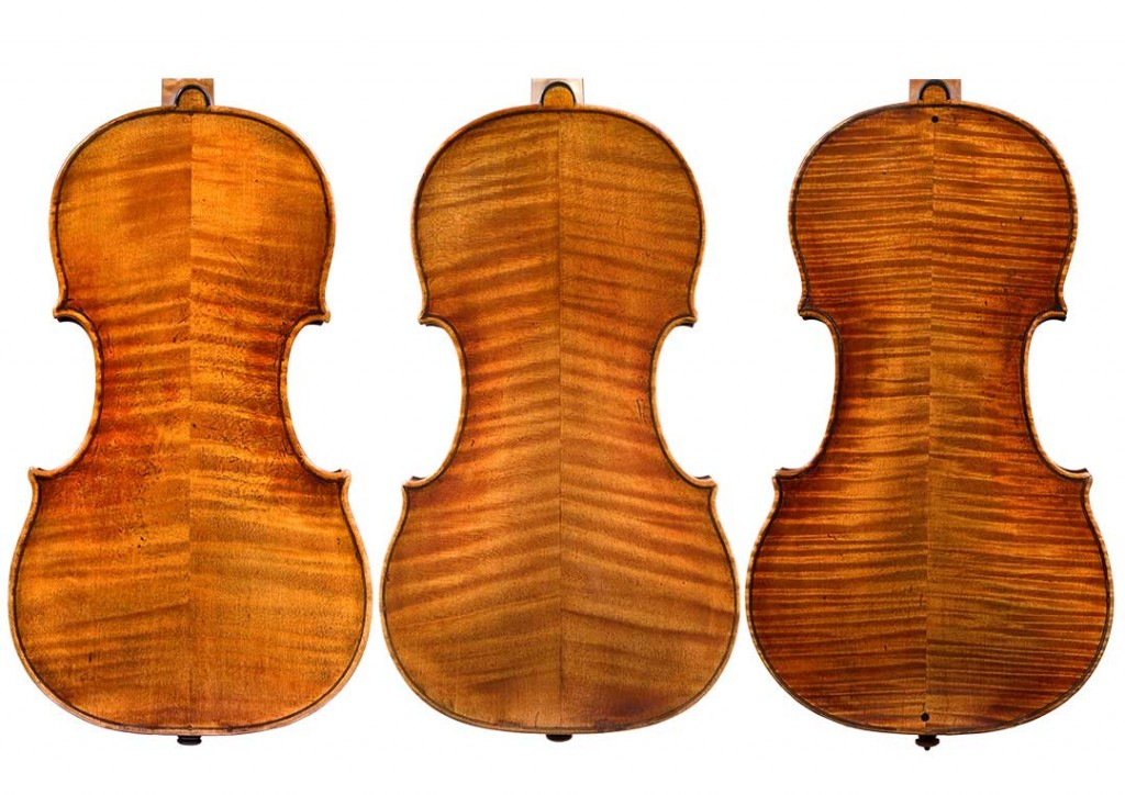 Ex. 4: Comparing the mystery instrument (right) to two examples by Guarneri del Gesù
