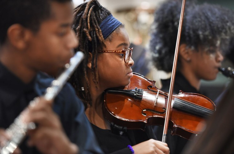 An OrchKids member performs at the D'Addario awards ceremony. Photo: Greg Dohley Photography