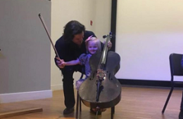 Zuill Bailey with a young student at a recent Outreach Engagement Event at the El Paso Museum of Art.